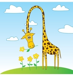 Cute funny giraffe cartoon character with flower vector