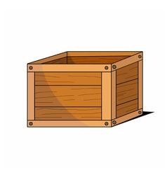 Wooden cartoon box icon vector