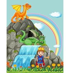 Prince and dragons at the waterfall vector image
