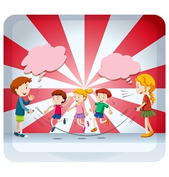 Children jumping rope together vector