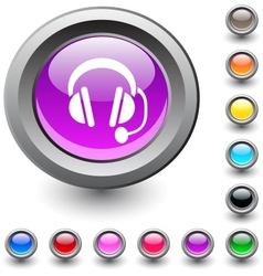 Call center round button vector image