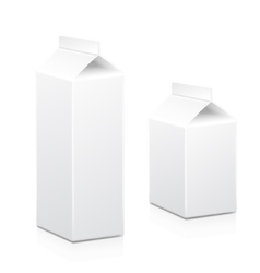 Milk and juice carton box packages blank white vector