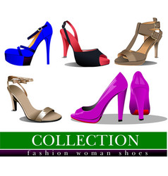 Big collection of fashion woman pink shoes vector