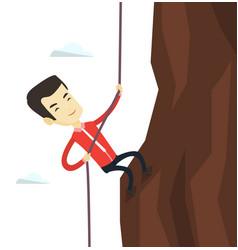 Business man climbing on the mountain vector