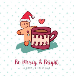 Christmas cute gingerbread man holiday cartoon vector