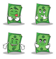collection dollar character cartoon style set vector image vector image