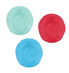 Colored spots of watercolor paint - red turquoise vector