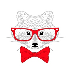 Cute cheerful fashion raccoon portrait hand drawn vector