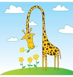 Cute funny giraffe cartoon character with flower vector