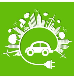 Ecology concept with eco car stock vector image
