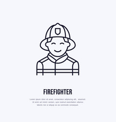 Firefighter flat line sign flame protection thin vector
