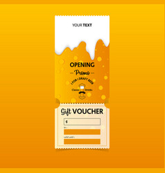 Gift vouchers template design for beer party vector