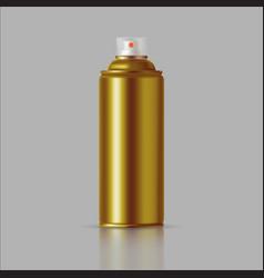 golden paint aerosol spray metal bottle can vector image vector image