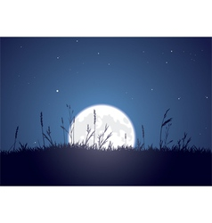 grassy moonrise vector image