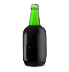 Green bottle of dark beer vector image