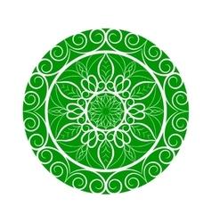 Green Flower mandala over white vector image