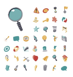 icons vintage set flat for user interface vector image vector image