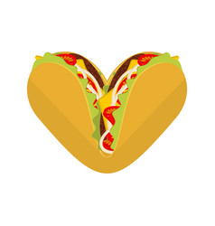 Love tacos symbol lover mexican fast food taco vector