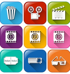 Movie marathon icons vector image