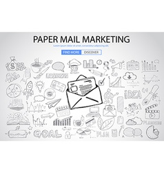 Paper email Marketing with Doodle design style vector image