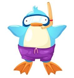 Penguin scuba diver vector