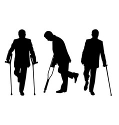 People with crutches vector