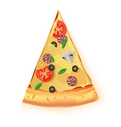 Pizza cut off slice on white background vector