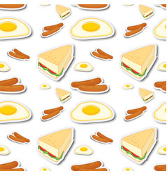 Seamless background with different food vector
