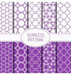 Set of geometric lattice seamless arabic pattern vector image