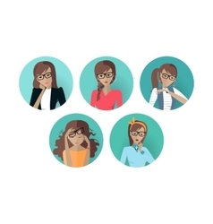 Set of userpic of a business lady woman at work vector