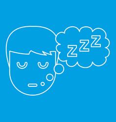 Sleeping boy icon outline style vector
