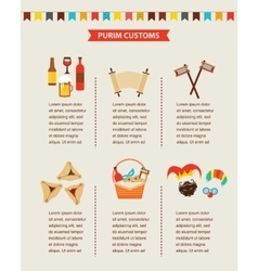 Symbols of jewish holiday purim infographics vector
