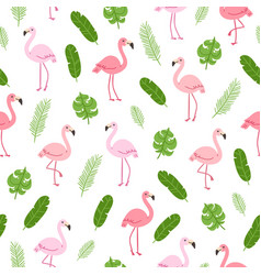 tropical pattern with flamingo vector image vector image