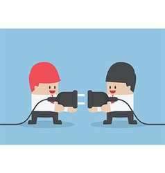 Two businessman trying to connect electric plug to vector image vector image