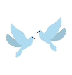 Two doves flat icon vector