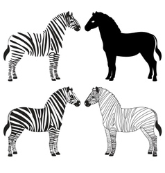 Zebra silhouettes set vector image vector image