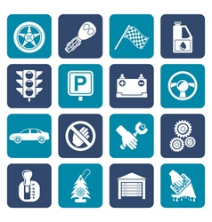 Flat car and transportation icons vector