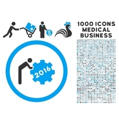 2016 working man icon with 1000 medical business vector