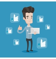 Man with thumb up and like social network buttons vector