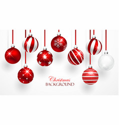 Red christmas balls set vector