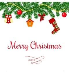 Merry christmas wreath and toys postcard vector