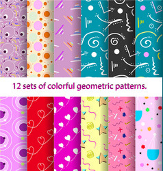 12 pattern retro vintage 80s or 90s fashion style vector image