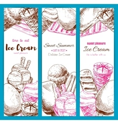 Ice cream sketch banners set vector