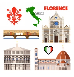 Florence italy travel doodle with architecture vector