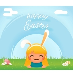 Cute girl easter bunny rabbit hole egg icon sky vector