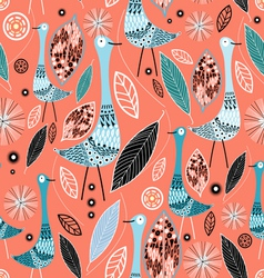 texture birds and leaves vector image