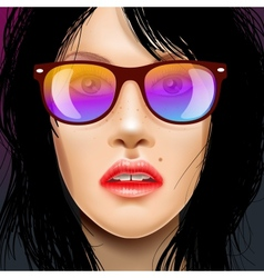 Womans face in sunglasses vector image