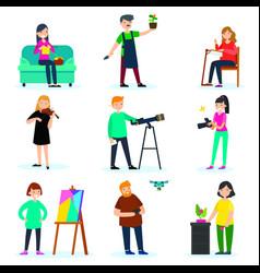 Adult people hobbies set vector