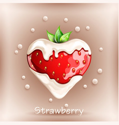 fresh strawberry in cream on colorful background vector image