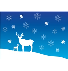 Deer snow vector
